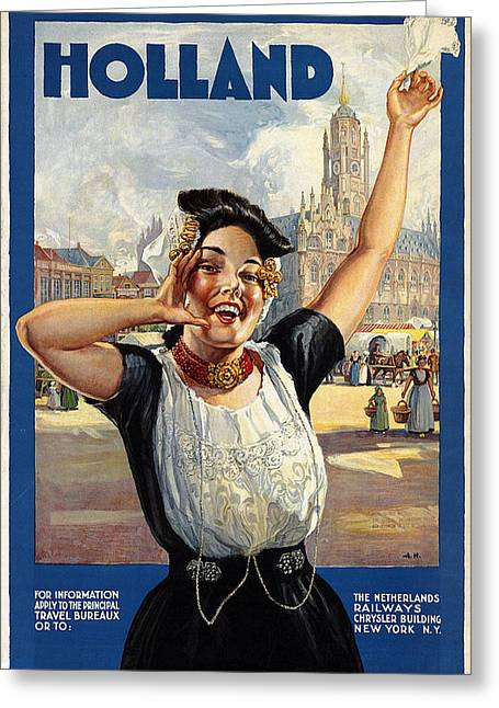 Happy Girl In Traditional Dutch Attire - Vintage Travel Poster From Holland Greeting Card