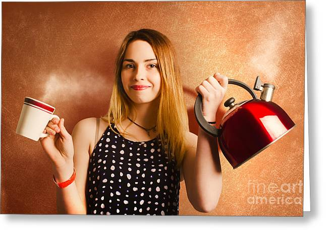 Happy Girl Serving Up Hot Coffee Beverage Greeting Card by Jorgo Photography - Wall Art Gallery