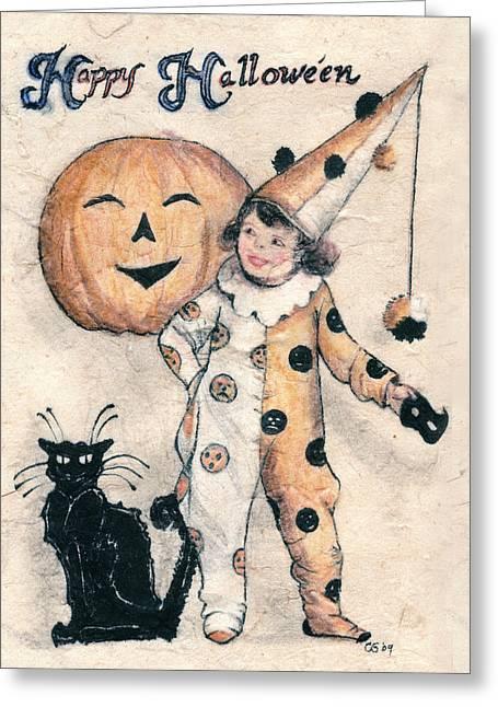 Happy Hallowe'en  Greeting Card by Carrie Jackson