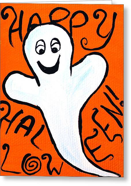 Happy Halloween Ghost Greeting Card by Jera Sky