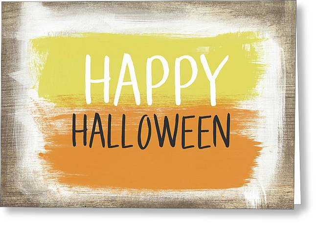 Happy Halloween Sign- Art By Linda Woods Greeting Card by Linda Woods