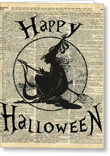 Happy Halloween Witch With Broom Dictionary Artwork Greeting Card by Jacob Kuch