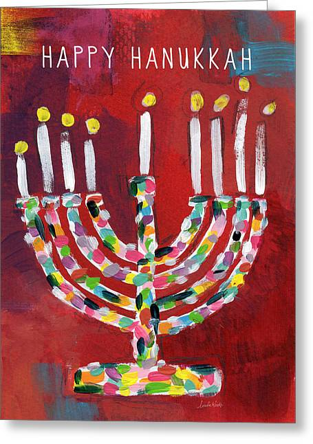 Happy Hanukkah Colorful Menorah Card- Art By Linda Woods Greeting Card