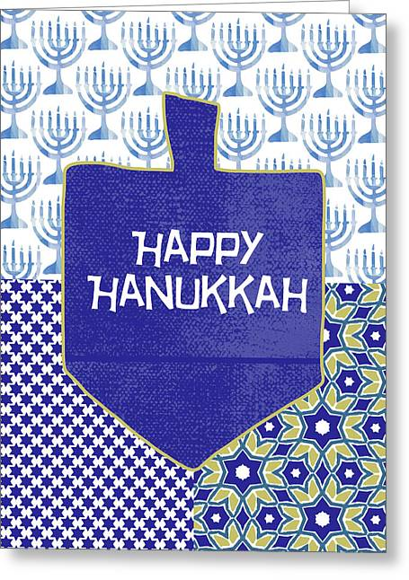 Happy Hanukkah Dreidel 1- Art By Linda Woods Greeting Card by Linda Woods