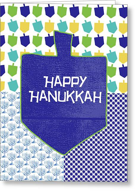 Happy Hanukkah Dreidel 2- Art By Linda Woods Greeting Card by Linda Woods