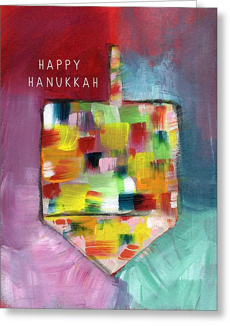 Happy Hanukkah Dreidel Of Many Colors- Art By Linda Woods Greeting Card