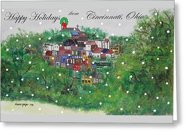 Happy Holidays From Cincinnati Ohio Greeting Card by Diane Pape