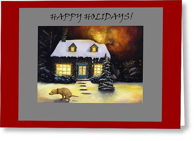 Happy Holidays Humor Greeting Card by Leah Saulnier The Painting Maniac