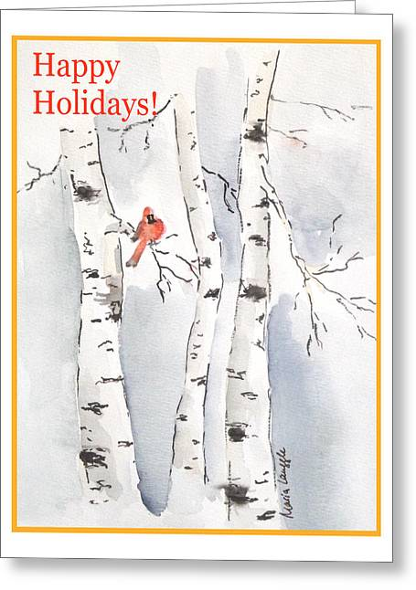 Greeting Card featuring the painting Happy Holidays by Maria Langgle