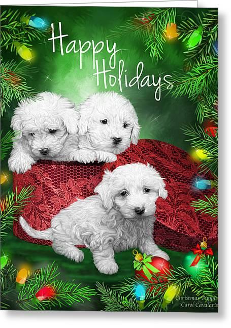 Happy Holidays Puppies Greeting Card