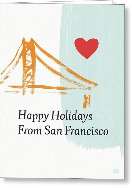 Happy Holidays San Francisco- Art By Linda Woods Greeting Card