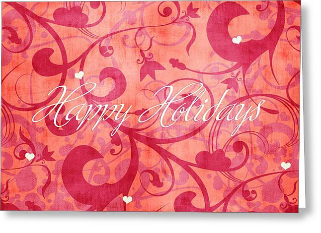 Happy Holidays Swirly Background Greeting Card by Maggie Terlecki