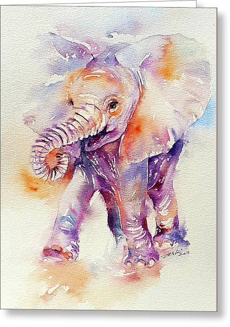 Happy Holly Baby Elephant Greeting Card