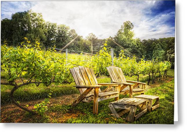 Happy Hour At The Vineyard Greeting Card by Debra and Dave Vanderlaan