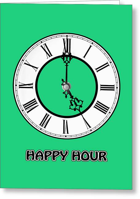 Happy Hour - Green Greeting Card by Gill Billington