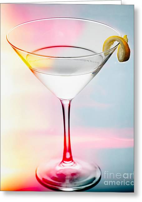 Happy Hour Martini Greeting Card by George Oze