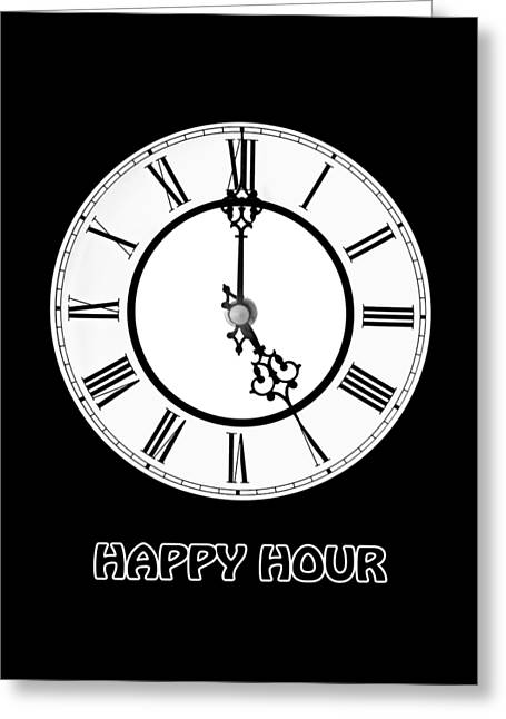 Happy Hour - On Black Greeting Card