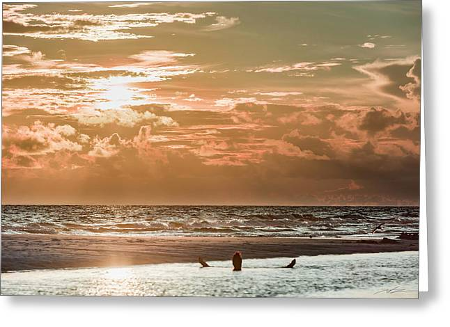 Happy Hour Sunset On The Beach Greeting Card