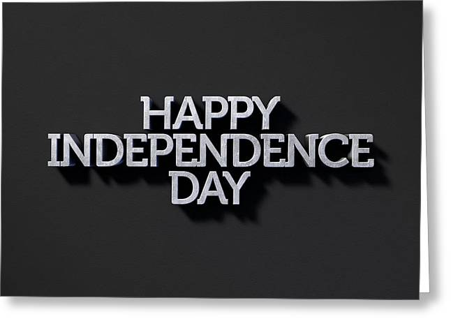 Happy Independence Day Text On Black Greeting Card by Allan Swart