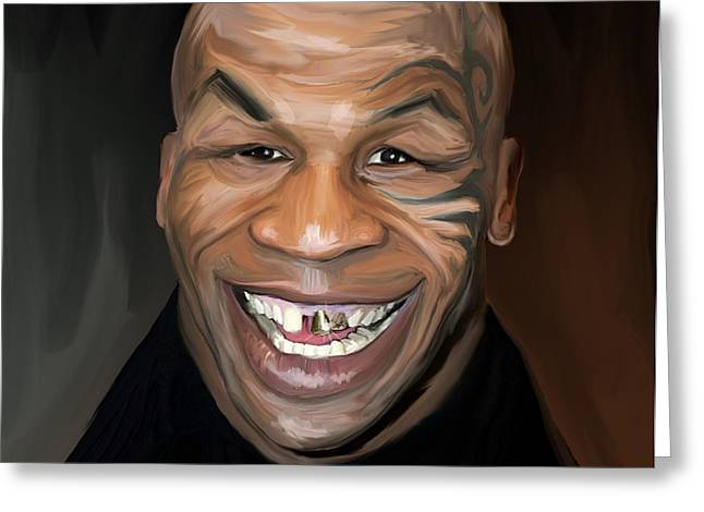 Happy Iron Mike Tyson Greeting Card by Brett Hardin