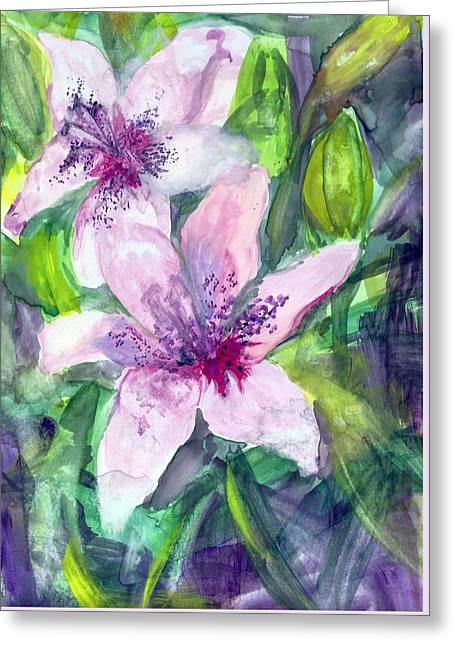 Happy Lilies After The Rain Greeting Card by Claudia Smaletz