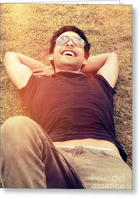 Happy Man Laughing While Enjoying Summer Holidays Greeting Card by Jorgo Photography - Wall Art Gallery
