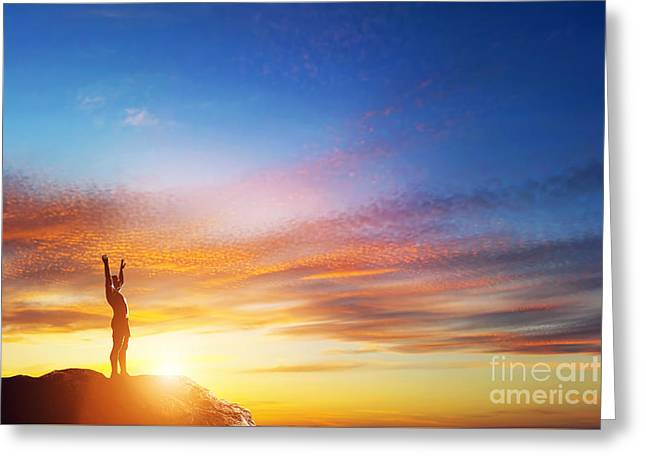 Happy Man With Hands Up On Peak Of The Mountain At Sunset Greeting Card by Michal Bednarek