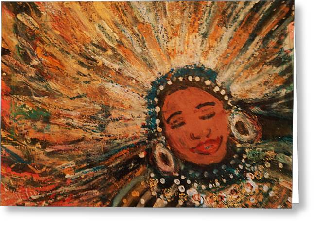 Happy Mardi Gras Woman With Feathers II Greeting Card by Anne-Elizabeth Whiteway