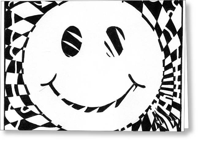 Happy Maze Greeting Card by Yonatan Frimer Maze Artist