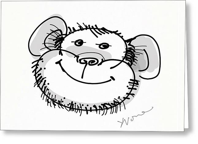 Happy Monkey Greeting Card by Yvonne Wright