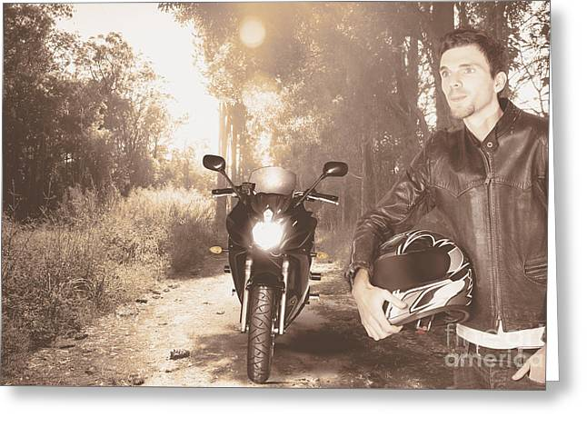 Happy Motorbike Man On Outback Australia Adventure Greeting Card by Jorgo Photography - Wall Art Gallery