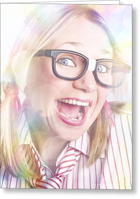 Happy Nerd Girl Singing Karaoke And Dancing Greeting Card