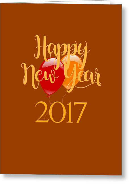 Greeting Card featuring the digital art Happy New Year 2017 With Balloons by Heidi Hermes