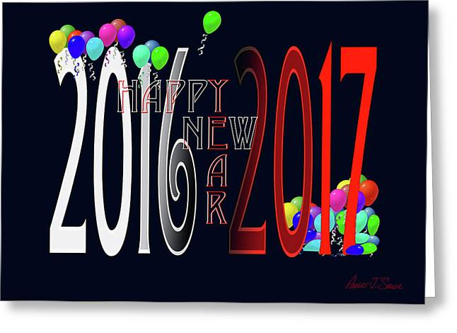 Happy New Year Card With Baloons Greeting Card