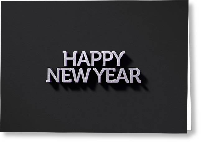 Happy New Years Text On Black Greeting Card by Allan Swart