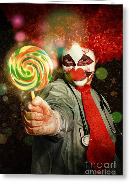 Happy Party Clown With Lollies At Circus Carnival Greeting Card