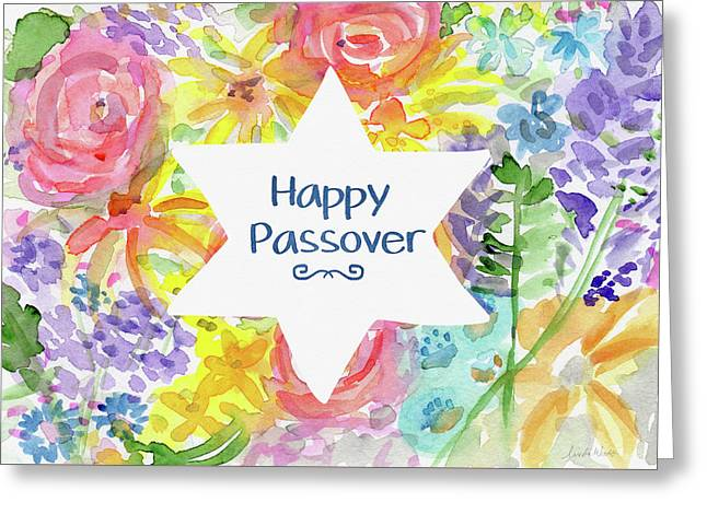 Happy Passover Floral- Art By Linda Woods Greeting Card by Linda Woods