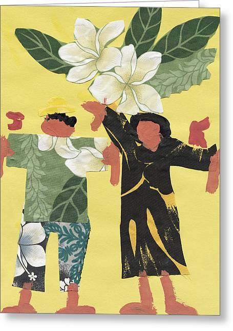 Island Cultural Art Greeting Cards - Happy People Greeting Card by Katie OBrien - Printscapes