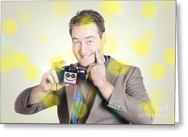Happy Photographer Man Holding Camera With Smile Greeting Card by Jorgo Photography - Wall Art Gallery