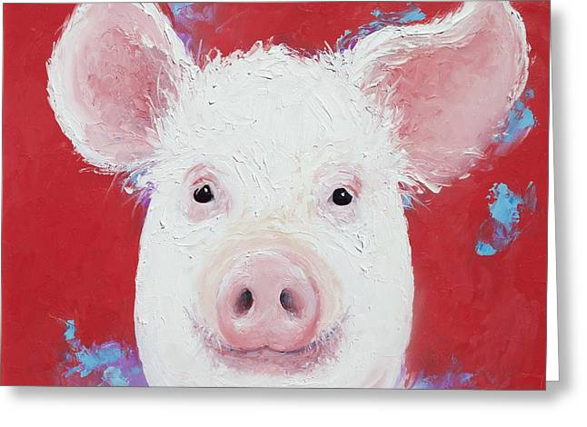 Happy Pig Painting  Greeting Card