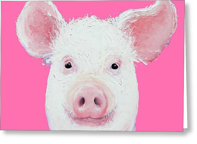 Happy Pig Portrait Greeting Card by Jan Matson
