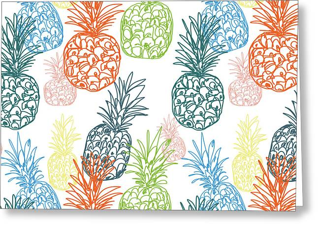 Happy Pineapple- Art By Linda Woods Greeting Card by Linda Woods