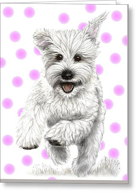Greeting Card featuring the drawing Happy Pink Polka Dots Doggy  by Heidi Kriel
