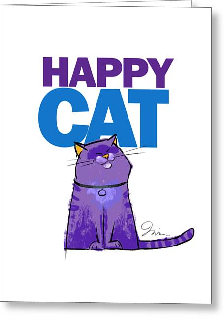 Happy Purple Cat Greeting Card by Trevor Irvin