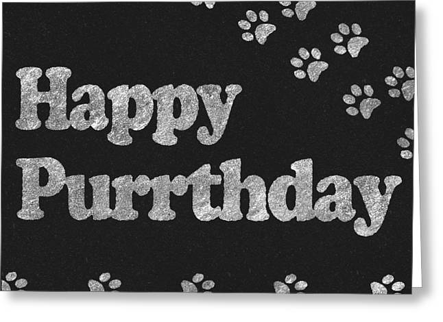 Happy Purrthday Black And Silver Greeting Card by Sabine Jacobs