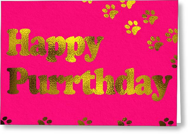 Happy Purrthday Pink Greeting Card by Sabine Jacobs