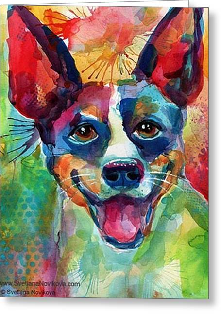 Happy Rat Terrier Watercolor Portrait Greeting Card