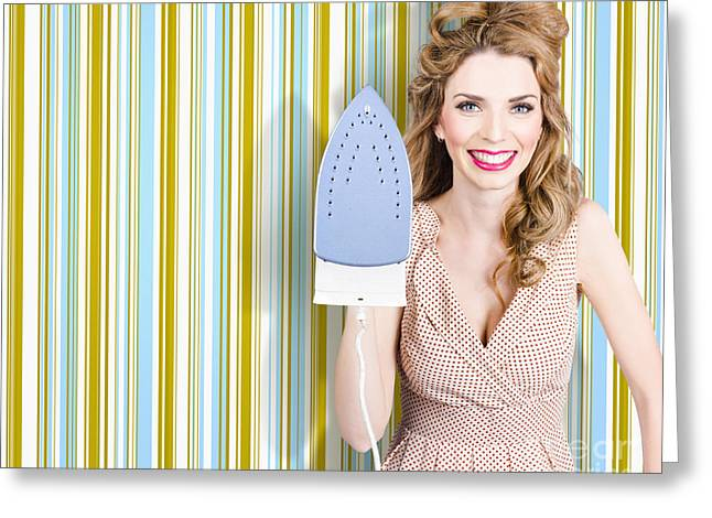 Happy Retro Housewife Holding Iron Greeting Card by Jorgo Photography - Wall Art Gallery