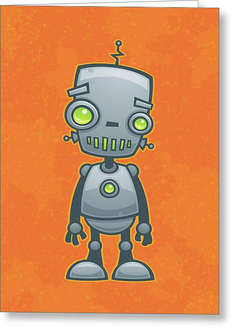 Machine Greeting Cards - Happy Robot Greeting Card by John Schwegel