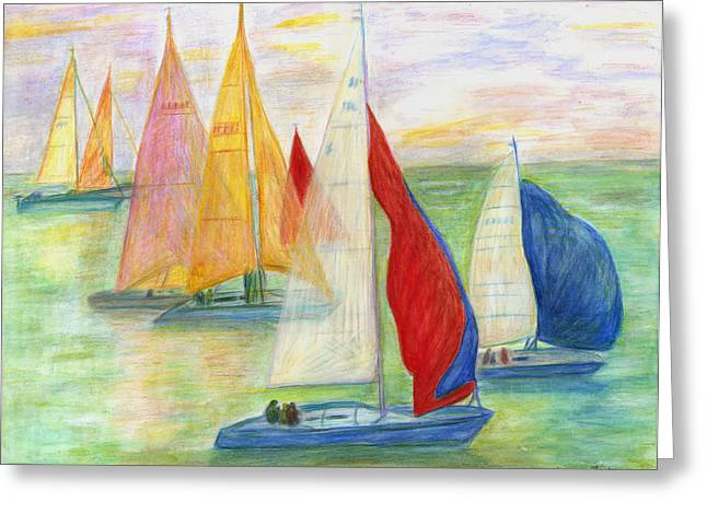Happy Sailing Greeting Card by Jeanne Kay Juhos